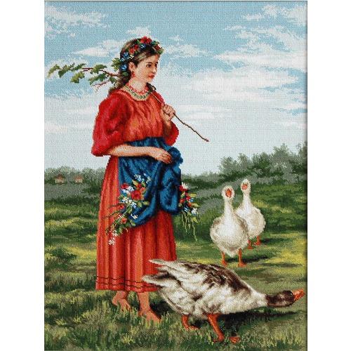 """Набор для вышивания крестом Luca-S """"Девочка с гусями (Маковский)"""""""
