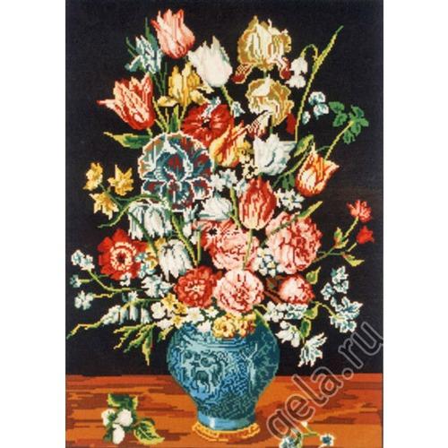 """Канва/ткань с нанесенным рисунком Gobelin-L """"Букет в синей вазе"""""""
