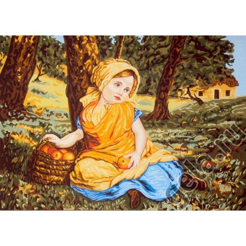 """Канва/ткань с нанесенным рисунком Gobelin-L """"Девочка с корзиной яблок"""""""