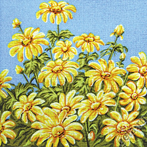 """Канва/ткань с нанесенным рисунком Gobelin-L """"Ромашки на голубом"""""""