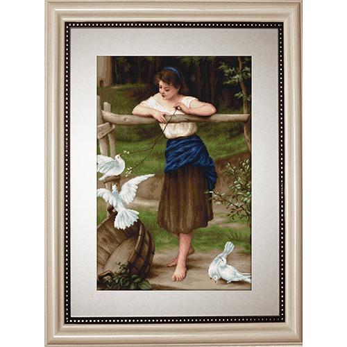 """Набор для вышивания крестом Luca-S """"Девушка дразнящая голубей"""""""