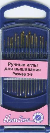 Аксессуары Hemline Ручные иглы для вышивания №3-9