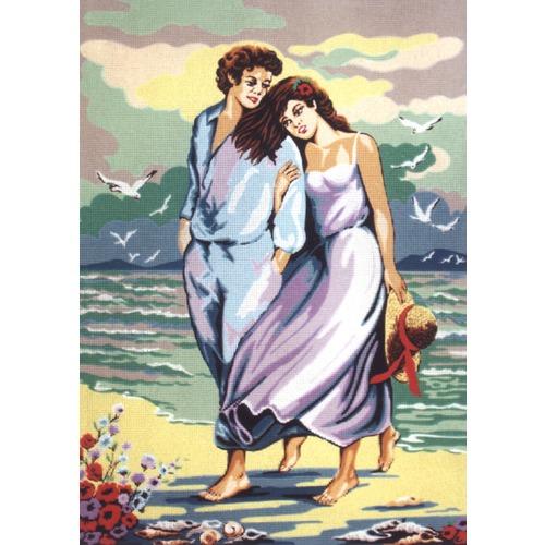 """Канва/ткань с нанесенным рисунком Diamant """"Вдвоем у моря"""""""