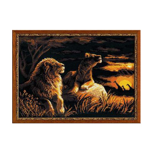 """Набор для вышивания крестом Риолис """"Львы в саванне"""""""