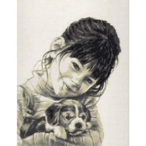 """Набор для вышивания крестом Палитра """"Девочка со щенком"""""""