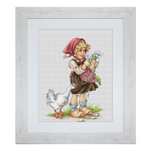 """Набор для вышивания крестом Luca-S """"Девочка с гусем"""""""