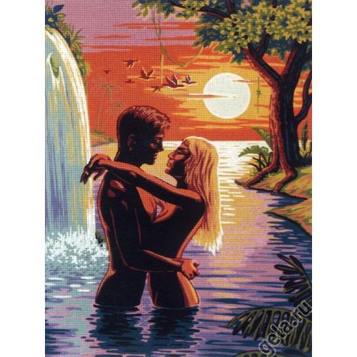 "Канва/ткань с нанесенным рисунком Diamant ""Пара у водопада"""
