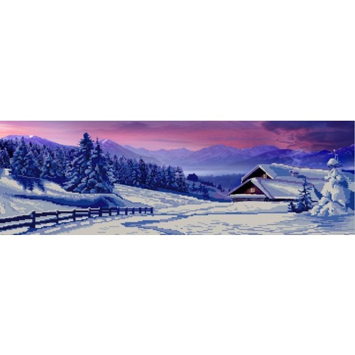 "Канва/ткань с нанесенным рисунком Конёк ""Полиптих. Зима. №4"""