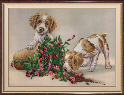 """Набор для вышивания крестом М.П. Студия """"Собачки с цветочным горшком"""""""