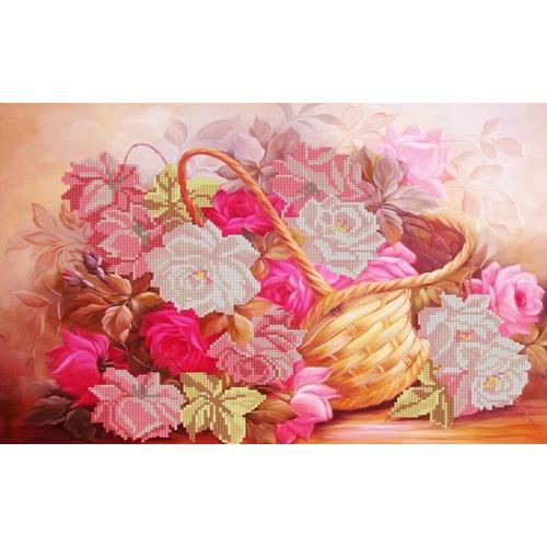 """Канва/ткань с нанесенным рисунком Конёк """"Розы в корзине"""""""
