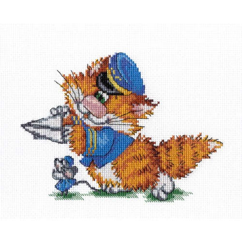 """Набор для вышивания крестом М.П. Студия """"Рыжий кот. Пилот"""""""