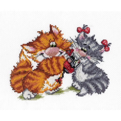 """Набор для вышивания крестом М.П. Студия """"Рыжий кот. Подарок"""""""