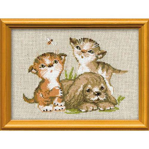 """Набор для вышивания крестом Риолис """"Котята и щенок"""""""