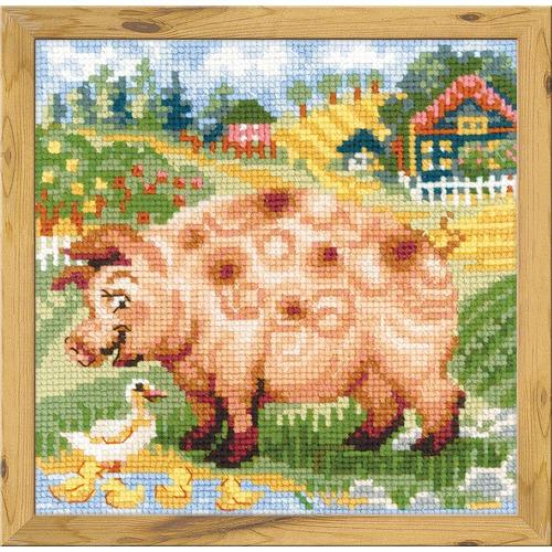 """Набор для вышивания крестом Риолис """"Хуторок. Свинка"""""""