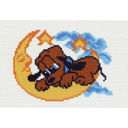 "Канва/ткань с нанесенным рисунком Матрёнин посад ""Собака на луне"""