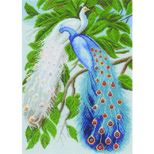 "Канва/ткань с нанесенным рисунком Матрёнин посад ""Павлины"""
