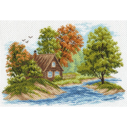 """Канва/ткань с нанесенным рисунком Матрёнин посад """"Пейзаж с домиком"""""""