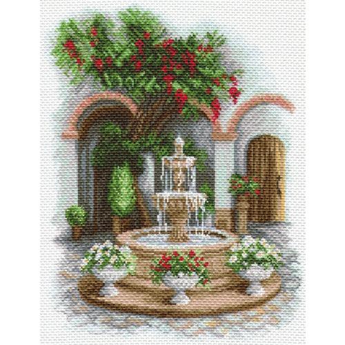 """Канва/ткань с нанесенным рисунком Матрёнин посад """"У прохладного фонтана"""""""