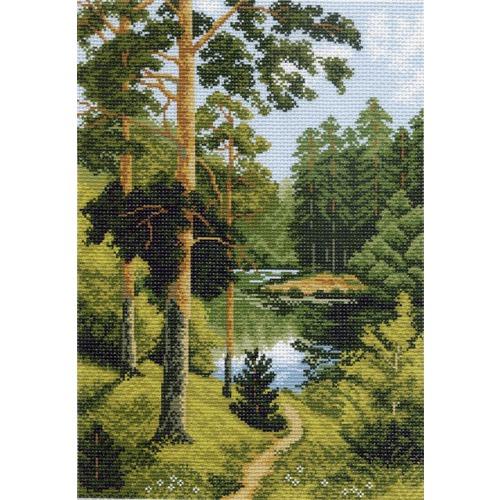 """Канва/ткань с нанесенным рисунком Матрёнин посад """"Речка в лесу"""""""