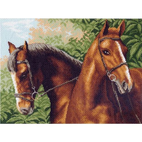 "Канва/ткань с нанесенным рисунком Матрёнин посад ""Две лошади"""