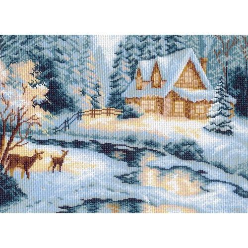 "Канва/ткань с нанесенным рисунком Матрёнин посад ""Зимний домик"""