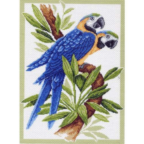 "Канва/ткань с нанесенным рисунком Матрёнин посад ""Два попугая"""