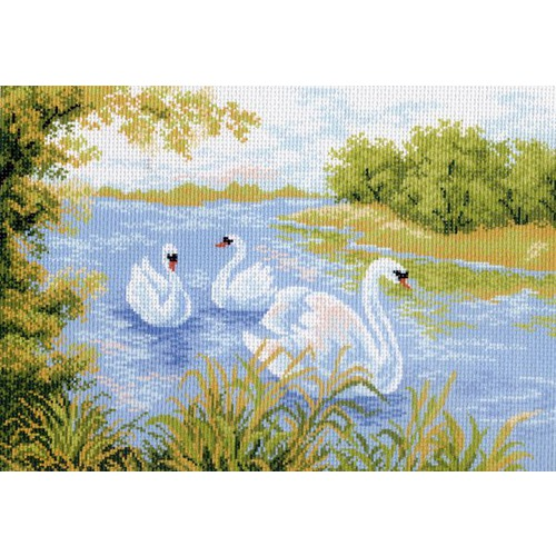 """Канва/ткань с нанесенным рисунком Матрёнин посад """"Лебединое озеро"""""""