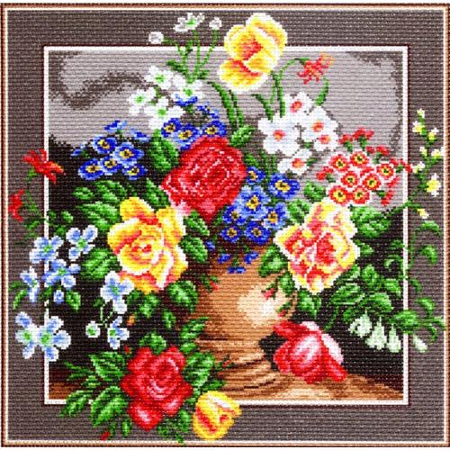 """Канва/ткань с нанесенным рисунком Матрёнин посад """"Цветочное изобилие"""""""
