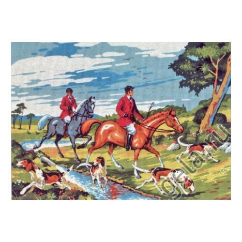 "Канва/ткань с нанесенным рисунком Gobelin-L ""Всадники"""