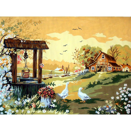 "Канва/ткань с нанесенным рисунком Gobelin-L ""Гуси у колодца"""