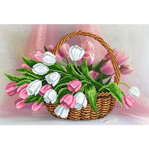 """Канва/ткань с нанесенным рисунком Матрёнин посад """"Тюльпаны в корзине"""""""