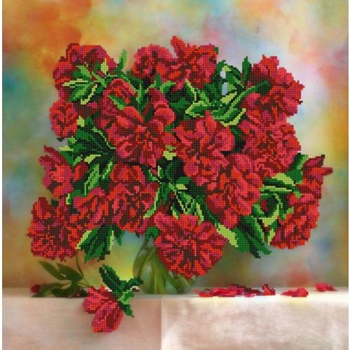"""Канва/ткань с нанесенным рисунком Конёк """"Красные пионы"""""""