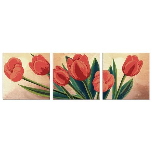 """Канва/ткань с нанесенным рисунком Глурия (Астрея) """"Триптих. Весений букет"""""""