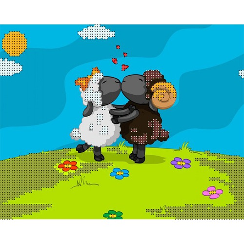 """Канва/ткань с нанесенным рисунком Глурия (Астрея) """"Овечий поцелуй"""""""