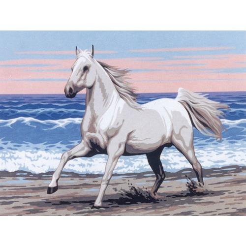 """Канва/ткань с нанесенным рисунком Diamant """"Белая лошадь на морском берегу"""""""