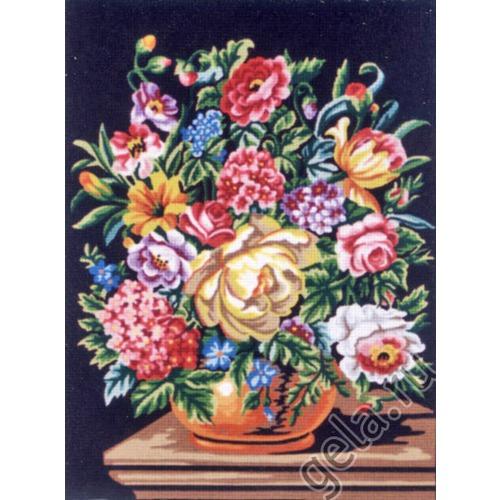 "Канва/ткань с нанесенным рисунком Gobelin-L ""Букет цветов на темном фоне"""