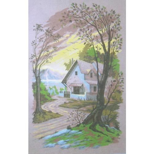 "Канва/ткань с нанесенным рисунком Gobelin-L ""Дом у озера"""