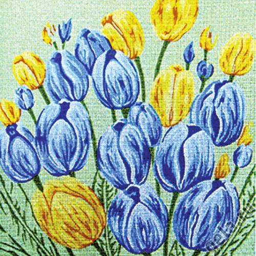 """Канва/ткань с нанесенным рисунком Gobelin-L """"Голубые и желтые тюльпаны"""""""