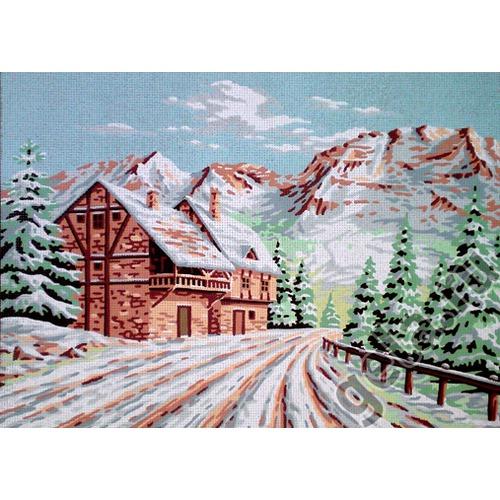 """Канва/ткань с нанесенным рисунком Gobelin-L """"Зимний пейзаж"""""""