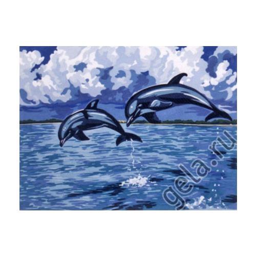 """Канва/ткань с нанесенным рисунком Gobelin-L """"Дельфины"""""""