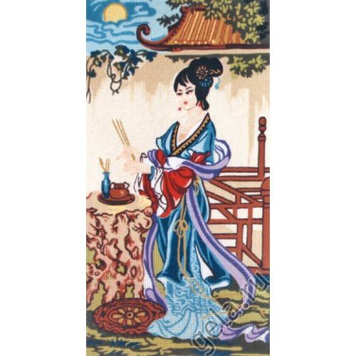 """Канва/ткань с нанесенным рисунком Gobelin-L """"Китаянка в синем"""""""