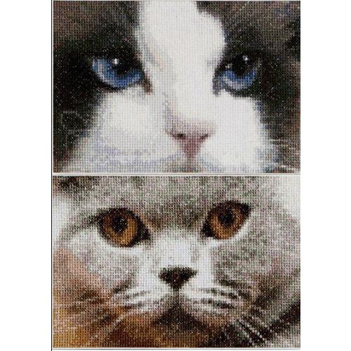 """Набор для вышивания крестом Thea Gouverneur """"Кошки Дымчатый и Синий"""""""