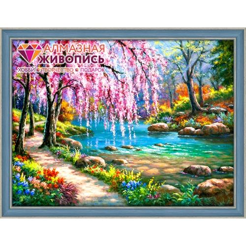 """Набор для выкладывания мозаики Алмазная живопись """"Сакура у реки"""""""