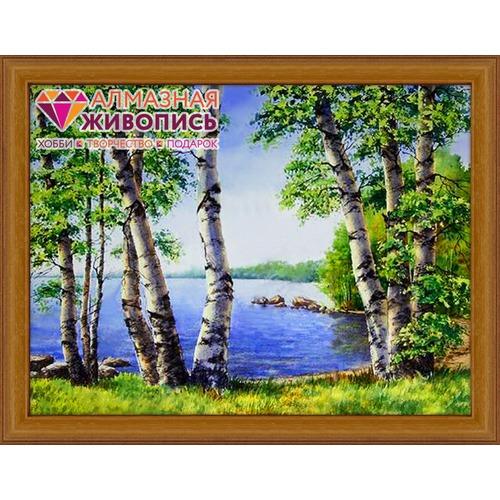 """Набор для выкладывания мозаики Алмазная живопись """"Березы у озера"""""""