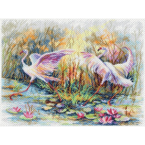"Канва/ткань с нанесенным рисунком Матрёнин посад ""Танец фламинго"""