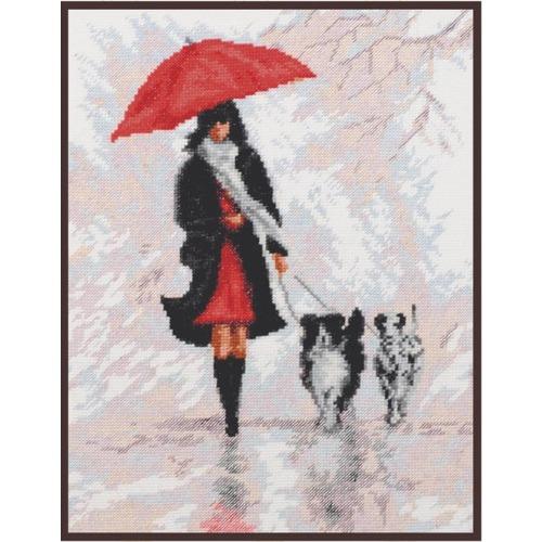 """Набор для вышивания крестом Палитра """"Дама с собачками"""""""