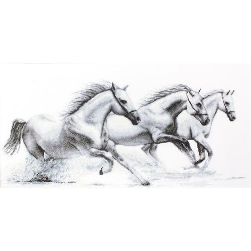 """Набор для вышивания крестом Luca-S """"Белые лошади"""""""