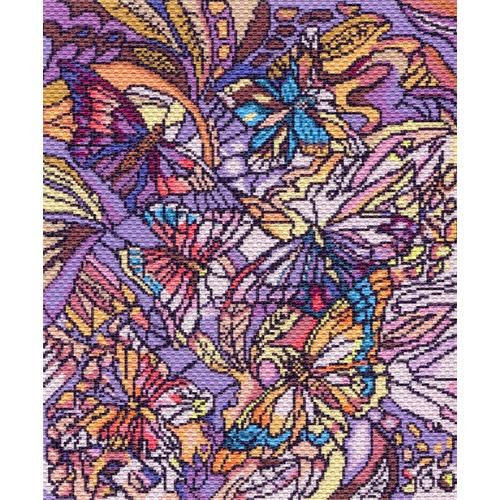 """Канва/ткань с нанесенным рисунком Матрёнин посад """"Витраж с бабочками"""""""