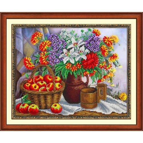 """Набор для вышивания бисером Паутинка """"Яблоки и садовый букет"""""""