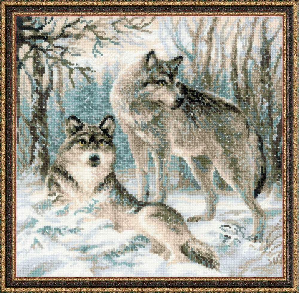 Купить вышивка крестом пара волков